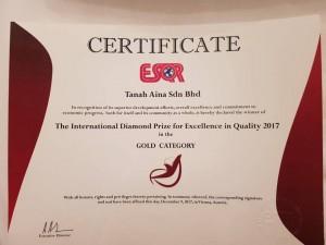 CERTIICATE DIAMOND PRIZE VIENNA AWARD 2017
